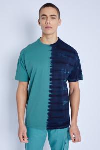 Blue S/S T-Shirt In Split Tie Dye