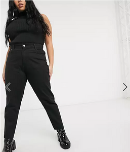 Curve Mom Jeans In Black Wash