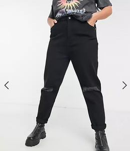 Curve High Waist Mom Jeans With Distressed Knees In Black Wash Denim