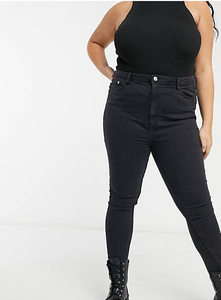 Curve High Waist Skinny Jeans In Black Wash