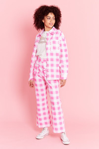 Oversized Gingham Shirt - Pink