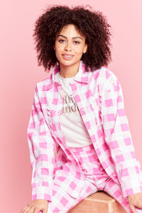 Oversized Gingham Shirt - Pink