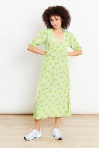 Ditsy Floral Midi Dress - Green