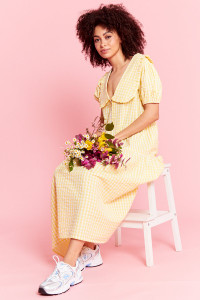 Gingham Midi Dress with Frill Collar - Yellow
