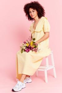 Gingham Midi Dress with Frill Collar - Yellow