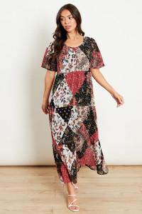 Flute Sleeve Tiered Midaxi Dress