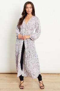Button Front Maxi Duster Kimono