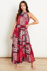 Pandora Patchwork Tiered Halter Maxi Dress