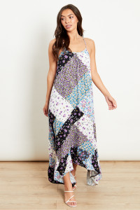 Dipped Side Strappy Trapeze Dress