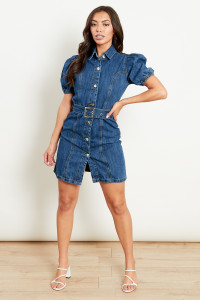 Belted Denim Mini Dress With Puff Sleeves