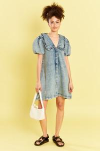 Denim Mini Dress With Peter Pan Frill Collar