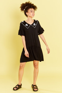 Drop Waist Jersey Smock Dress With Embroidered Collar