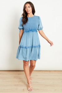 Shirred Smock Dress With Tiering