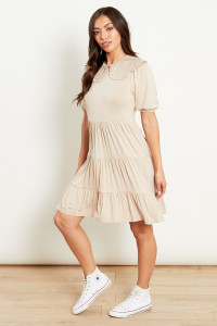 Tiered Jersey Mini Dress With Contrast Collar/Sleeves
