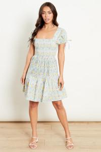 Shirred AOP Dress