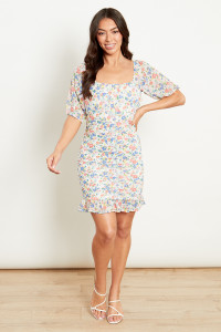 Square Neck Ruched Puff Sleeve Dress