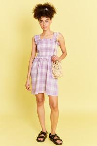Shirred Mini Dress With Skater Skirt