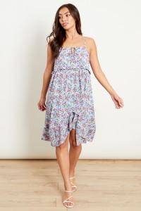 Square Neck Mini Dress In Violet Spot Floral Print