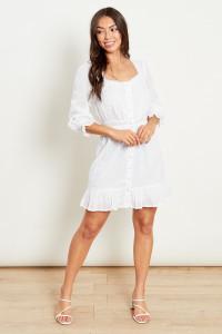 Cotton Dobby Mini Dress With Crochet Insert Trims