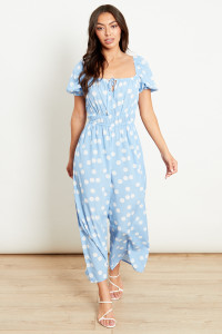 Sky Blue With White Polka Dot Square Neck Tie Front Jumpsuit