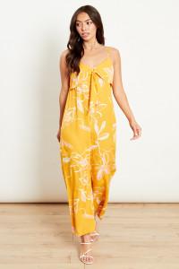 Yellow Isla Floral Tie Front Wide Leg Jumpsuit