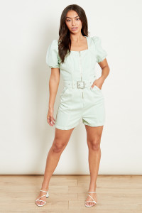 Sage Denim Belted Playsuit With Zip Front