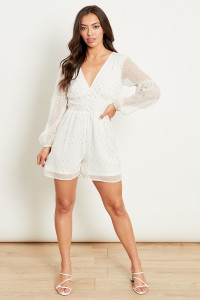 White Tie Back Playsuit With Balloon Sleeves In Ggt Lurex