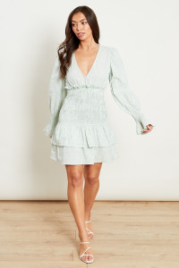 Sage Green Gingham Plunge Mini Dress With Shirred Tiered Skirt