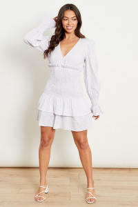 Lilac Gingham Plunge Mini Dress With Shirred Tiered Skirt