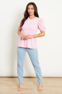 Cotton And Jersey Mix Shirred T-Shirt