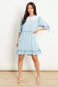 Blue Mini Dress With White Collar