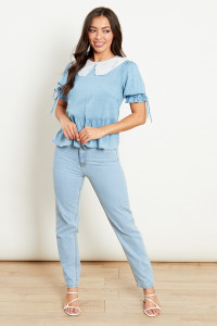 Chambray Peplum Blouse With Contrast Broderie Collar