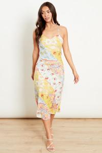 Yellow Multi Midi Dress