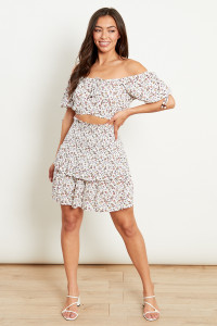 Shirred Double Frill Skirt