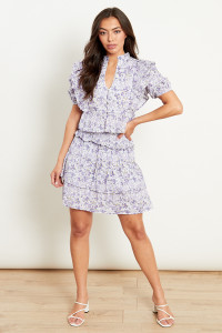 Tiered Mini Skirt With Shirred Waist In Lilac Cotton Floral