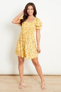 Yellow Ruffle Sleeves Shirred Mini Dress