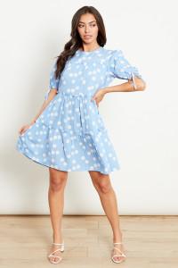 Blue With White Polka Dot Tiered Smock  Mini Dress