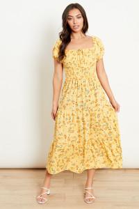 Yellow Floral Tiered Bardot Midi Dress