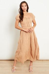 Beige Check Tiered Bardot Midi Dress