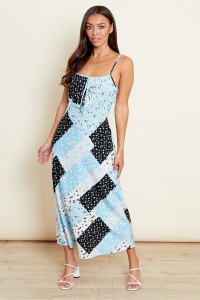 Sky Blue Strappy Cami Slip Midi Dress