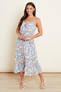 Floral Strappy Tie Front Midi Dress