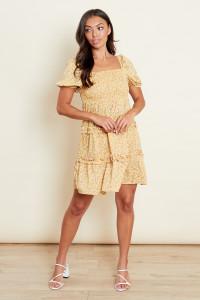 Multi Square Neck Tiered Frill Smock Mini Dress