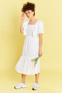 White Prairie Midi Dress With Cotton Crochet Trims