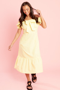 Yellow Bardot Frill Hem Midi Dress