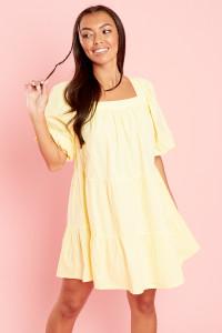 Yellow Square Neck Smock Mini Dress