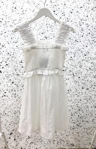 White Shirred Mini Dress With Skater Skirt