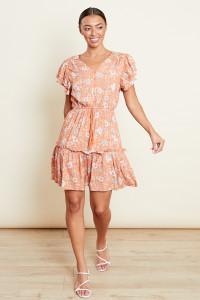 Frill Sleeves Skater Mini Dress