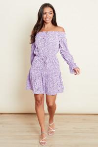 Lilac Bardot Tie Front Mini Dress