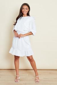 White Prairie Mini Dress With Trim Detailing In Textured Cotton