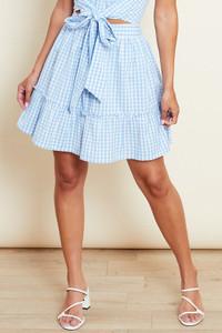 Blue Gingham Frill Hem Skirt